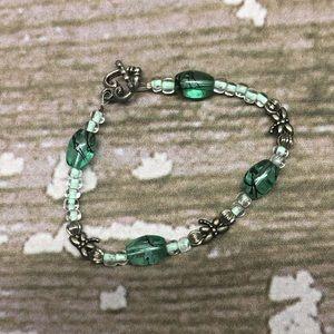 Handmade Dragonfly Beaded Bracelet Green